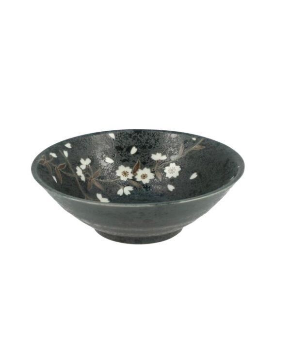 Bol de ceramica japonesa negro con flores de cerezo