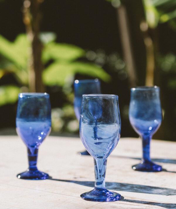 Copas vidrio soplado sira azul