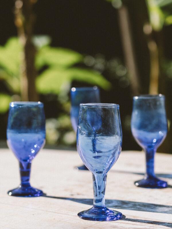 Set copas para vino – Vidrio soplado – Azul