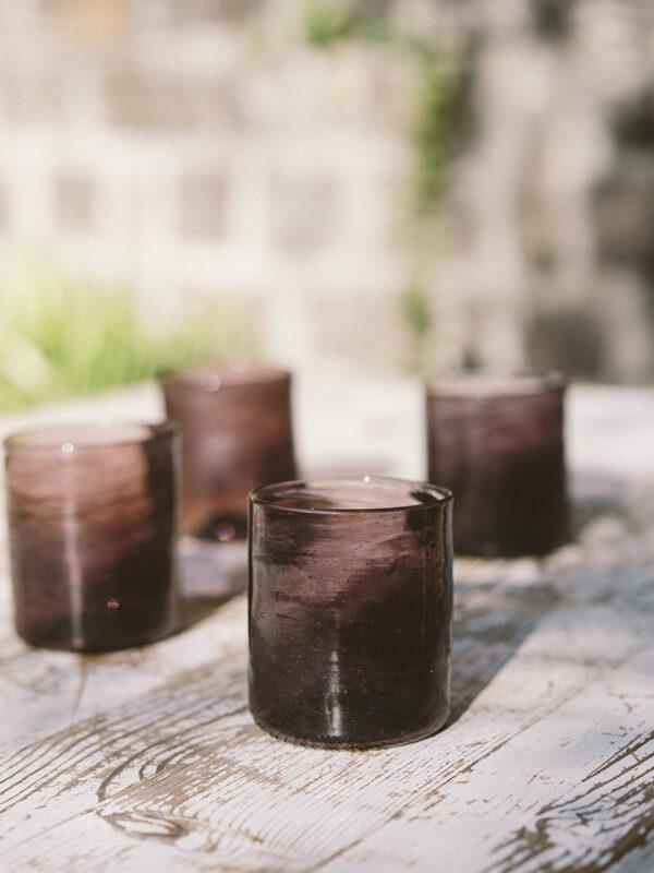 Set vasos cuadrados – Vidrio soplado – Cereza