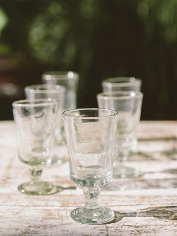 Set vasos de vino – Vidrio soplado – Transparante