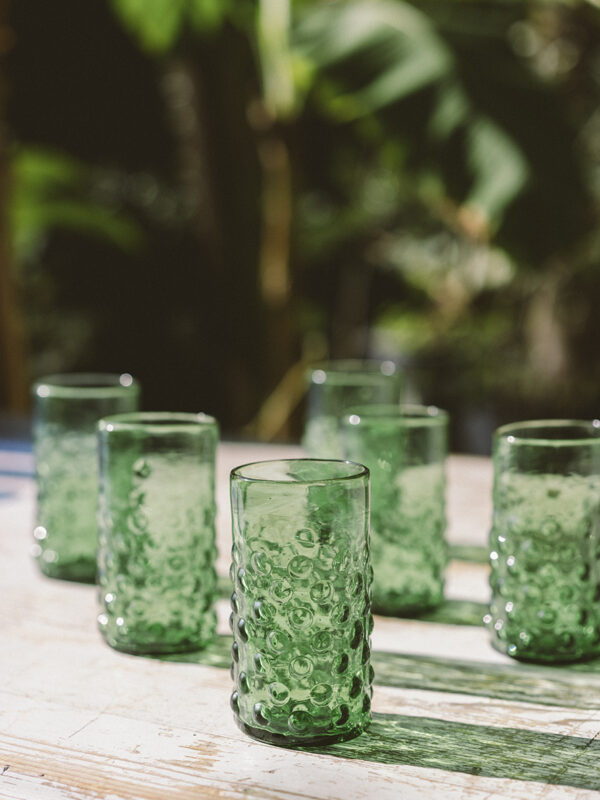 Set vasos pompas – Vidrio soplado – Verde