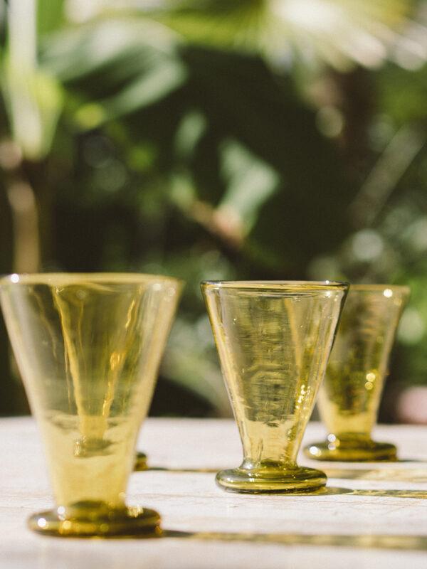 Set vasos evasé – Vidrio soplado – Ambar