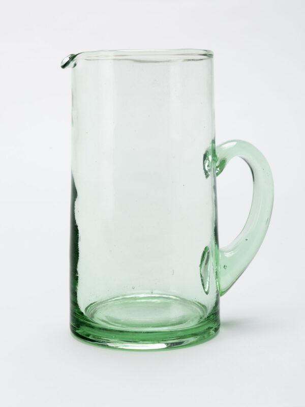 Jarra con asa vidrio soplado verde transparente