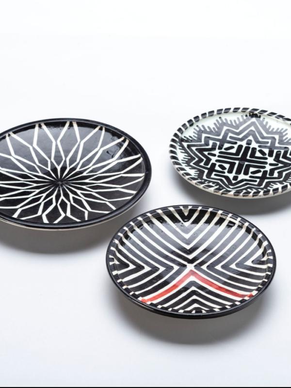 Platos de cerámica de Fez, línea geométrica