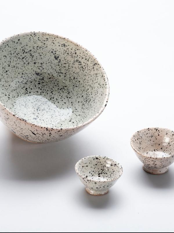 Ensaladeras y cuencos de cerámica de Fez, línea granito