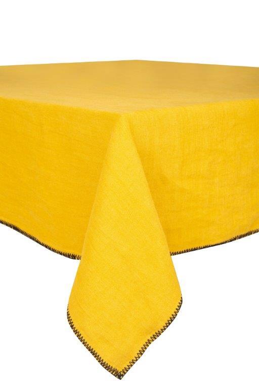 Mantel de lino lavado – Ribete negro