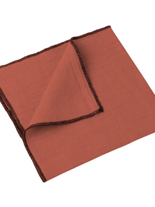 Set de servilletas lino lavado – Ribete negro – Arcilla