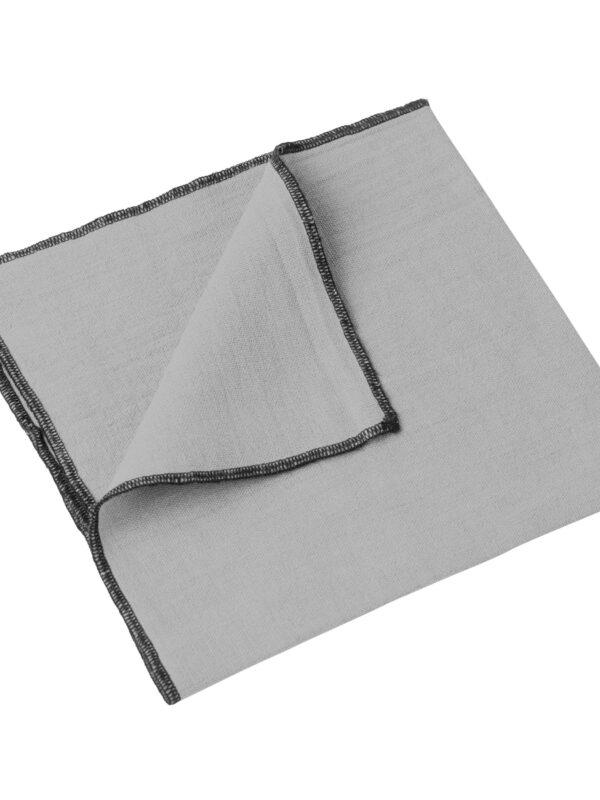 Set de servilletas lino lavado – Ribete negro – Betún