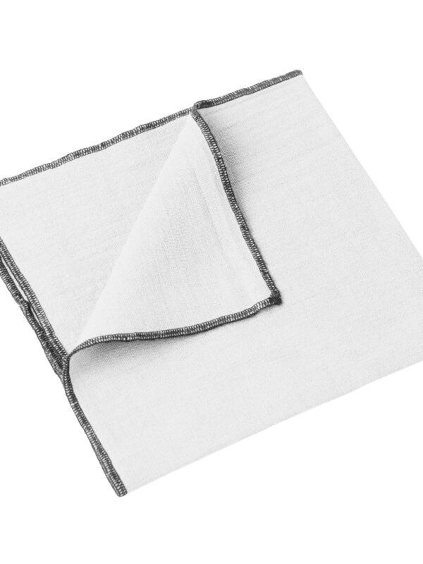 Set de servilletas lino lavado – Ribete negro – Blanco