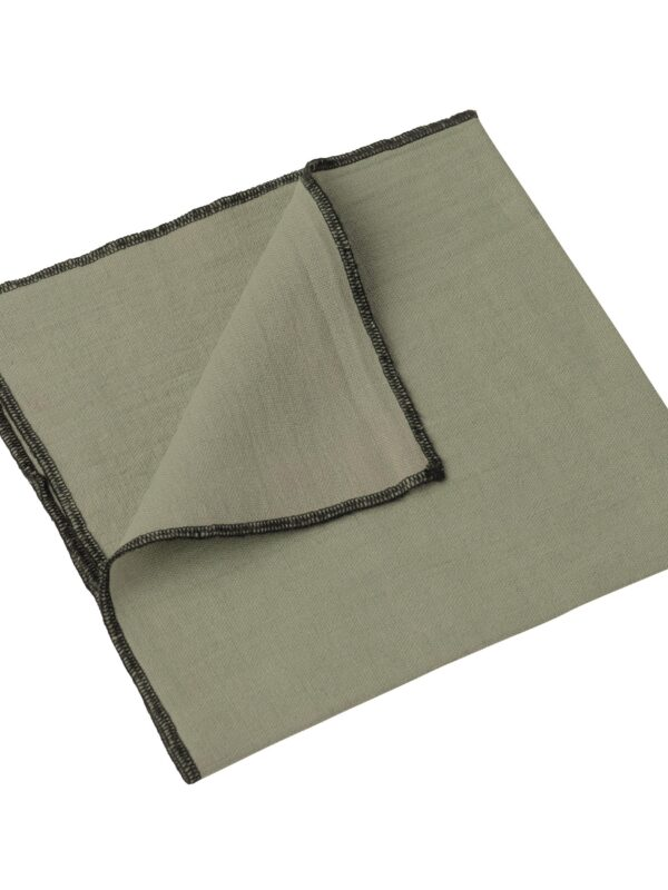 Set de servilletas lino lavado – Ribete negro – Caqui