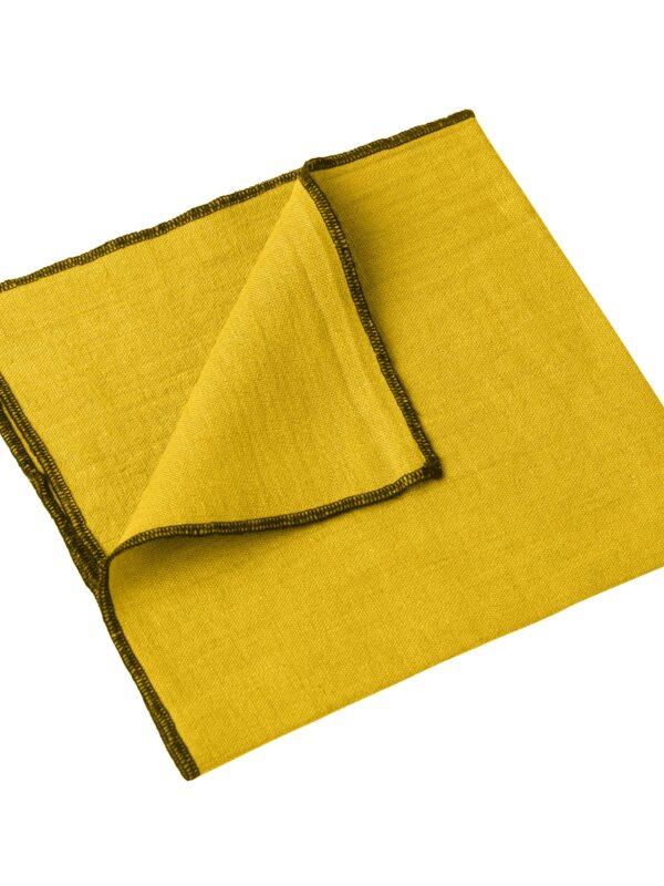 Set de servilletas lino lavado – Ribete negro – Azafran